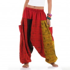 Jeans Patchwork Genie Pants Red Yellow