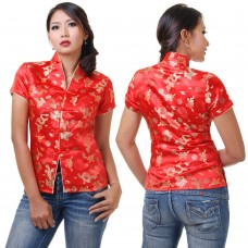 Red Traditional Chinese Top QLGR13-36