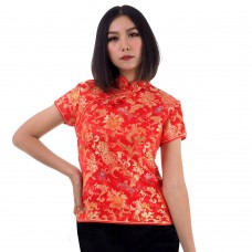 Red Traditional Chinese Top QLGR15