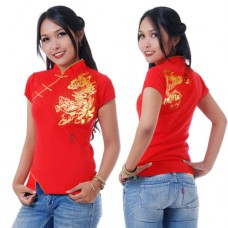 Women Chinese Shirt Red
