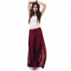 Palazzo Yoga Wrap Pants Claret Red