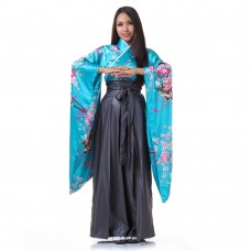 Woman Samurai Costume Turquoise-Grey