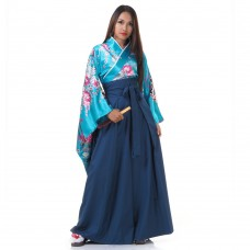 Woman Samurai Costume Turquoise-Blue