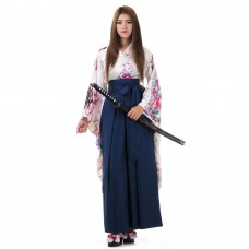 Woman Samurai Costume White-Blue