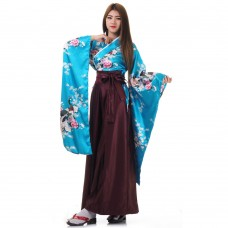 Woman Samurai Costume Turquoise-Claret Red
