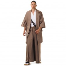 Japanese Samurai Kimono Set 3 pieces Brown and White