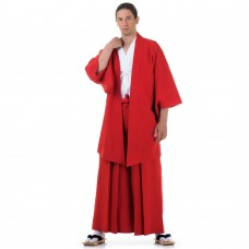 Japanese Samurai Kimono Set 3 pieces Kendo Gi + Hakama Pants + Haori Kimono Cotton Red and White