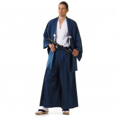 Japanese Samurai Kimono Set 3 pieces Blue and White