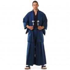 Japanese Samurai Kimono Set 3 pieces Kendo Gi + Hakama Pants + Haori Kimono Cotton Blue & Black