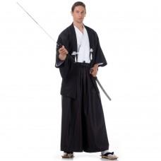 Japanese Samurai Kimono Set 3 pieces Kendo Gi + Hakama Pants + Haori Kimono Cotton Black and White