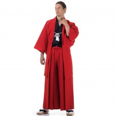 Japanese Samurai Kimono Set 3 pieces Red and Black