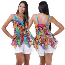 Hippie Patchwork Spaghetti Top Blue