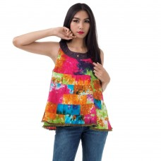 Hippie Patchwork Sleeveless Batik Top