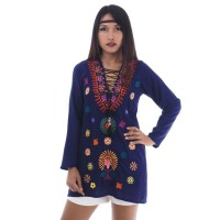 Hippie Bohemian Style Tunic Navy Blue