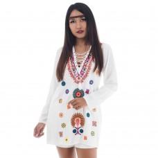 Hippie Bohemian Style Tunic White