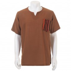 Brown Hippie Casual Short Sleeve Shirt