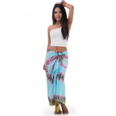 Light Blue Tie Dye Sarong Pareo Cover Up XL