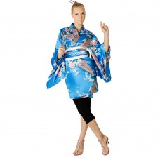 Sexy Short Kimono Satin Light Blue