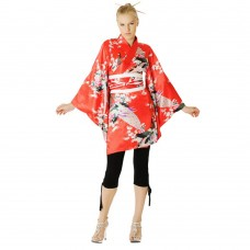 Short Japanese Kimono Dress Red