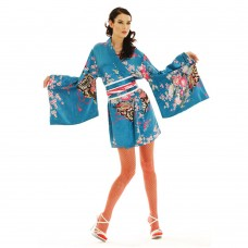 Short Japanese Kimono Satin Light Blue
