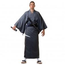 Japanese Men's Yukata Kimono Grey