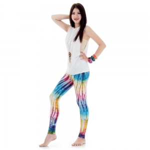 Tie dye batik leggings Pants White