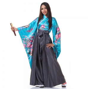 Woman Samurai Costume Blue-Grey
