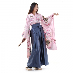 Woman Samurai Costume Rose-Blue Grey