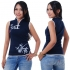Women Navy Blue Chinese top