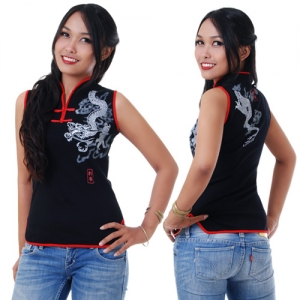 Women Chinese Blouse in Black