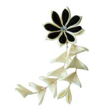 Flower hair clips for Japanese kimono-White-Black, Flower88