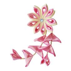 Flower hair clips for Japanese kimono-Pink-Cream, Flower86