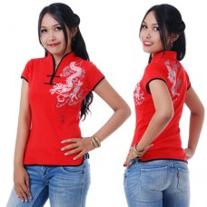 Red Chinese Shirt with Dragon Prints