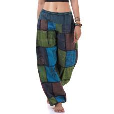 Blue-Green Patchwork Genie Pants, Harem Pants FAB756
