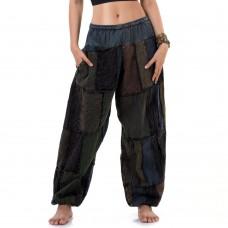 Brown-Navy blue Patchwork Genie Pants, Harem Pants FAB757
