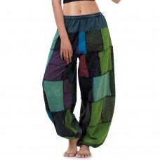 Blue-Green Patchwork Genie Pants, Harem Pants FAB759