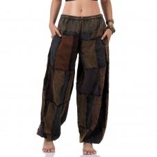 Brown Patchwork Genie Pants, Harem Pants FAB761
