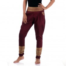 Claret Red Traditional Thai Pattern Harem Pants for Women FAT10W