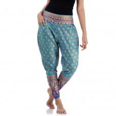 Light Blue Traditional Thai Pattern Skinny Pants FAT12W