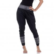 Black Traditional Thai Pattern Skinny Pants FAT2W