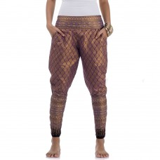 Claret Red Cotton Traditional Thai Pattern Harem Pants for Women FAT20W