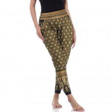 Black Gold Traditional Thai Pattern Harem Pants FAT4W