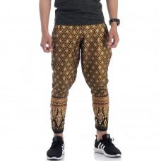 Black Cotton Traditional Thai Pattern Harem Pants FAT4Men