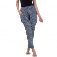 Black Traditional Thai Pattern Harem Pants for Women FAT6W