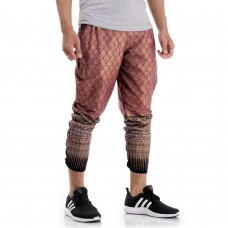 Red Cotton Traditional Thai Pattern Skinny Pants FAT20Men