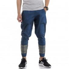 Blue Arteficial Thai Silk Traditional Thai Pattern Harem Pants FAT9Men