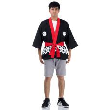 Black Happi Kimono Coat, Japanese Kimono Costume Huppi3