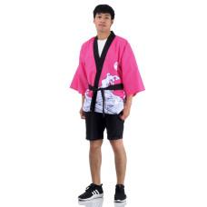 Pink Wave Printed Japanese Happi Kimono Coat Huppi41