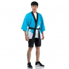 Light Blue Japanese Happi Kimono Coat Huppi43