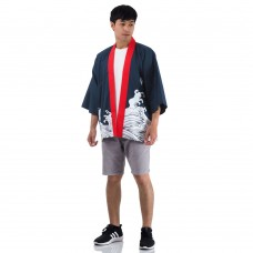 Navy Blue Japanese Costume Happi Kimono Coat Huppi45